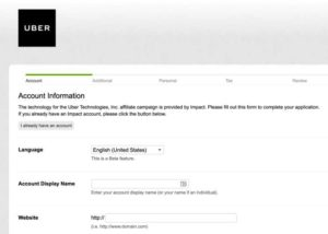 Uber Affiliate Program application form