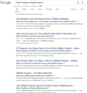 Google search for Sleep Problem Affiliate Programs