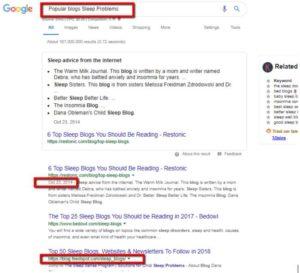 Google search for niche competitors