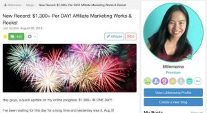 $1300 Aug 2019 Wealthy Affiliate Results