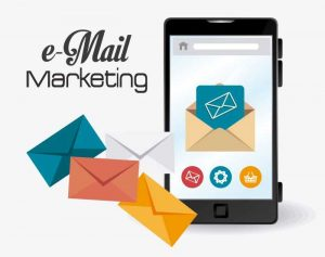 Email Marketing with phone and email icons