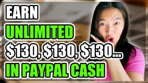 Earn Unlimited $130 In PayPal Cash!! with lady pointing at the words with her mouth open
