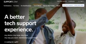 support webpage screenshot