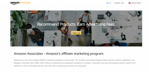 screenshot of amazon affiliate program webpage