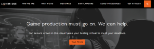 lionbridge webpage screenshot